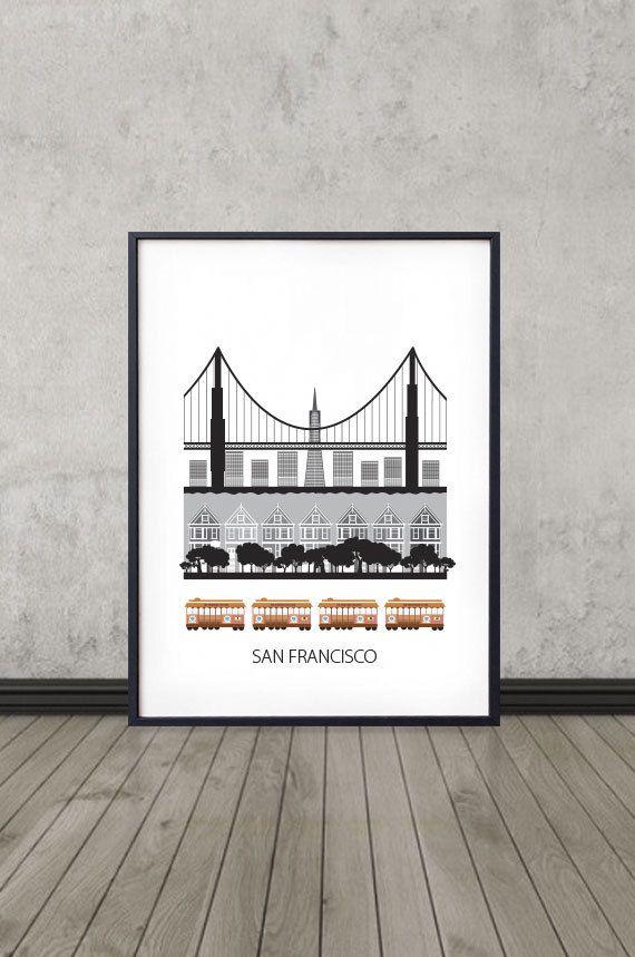 Illustration moderne de San Francisco avec les célèbres téléphériques et avec une touche scandinave. :)  -Imprimé sur 200g papier Epson Premium Matte,