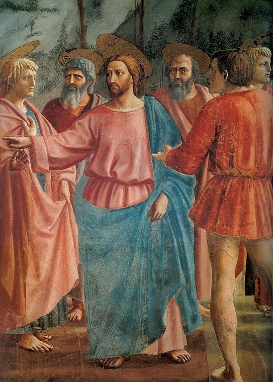 Masaccio (Tommaso di Ser Giovanni di Simone) ~ The Tribute Money (detail), c.1424-25 (Brancacci Chapel)