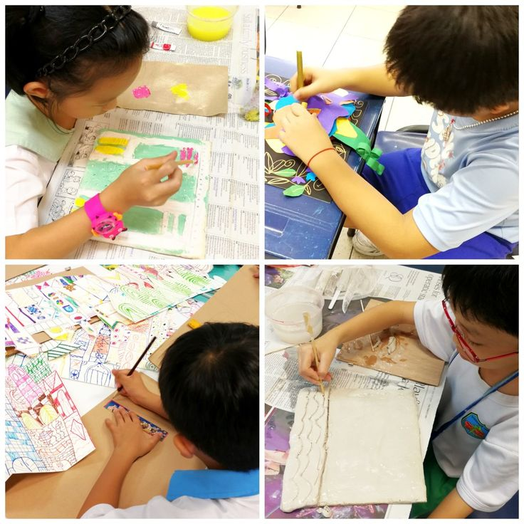 Students engaged in various artmaking processes