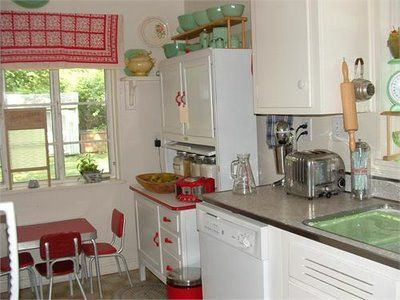 Love This Vintage Kitchen, Counter Tops And Sink Too! Great Hoosier. Retro  Kitchen DecorRed ...
