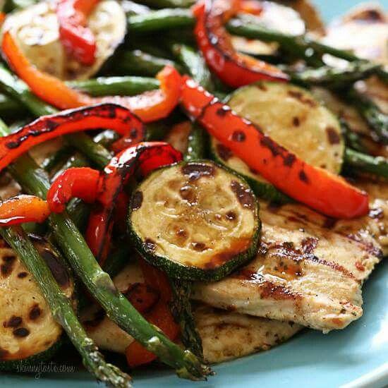 Honey basalmic grilled chicken and veggies