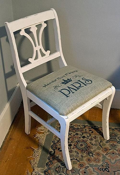 Painted Burlap Seated Chair Repurpose A With Paint And Stenciled