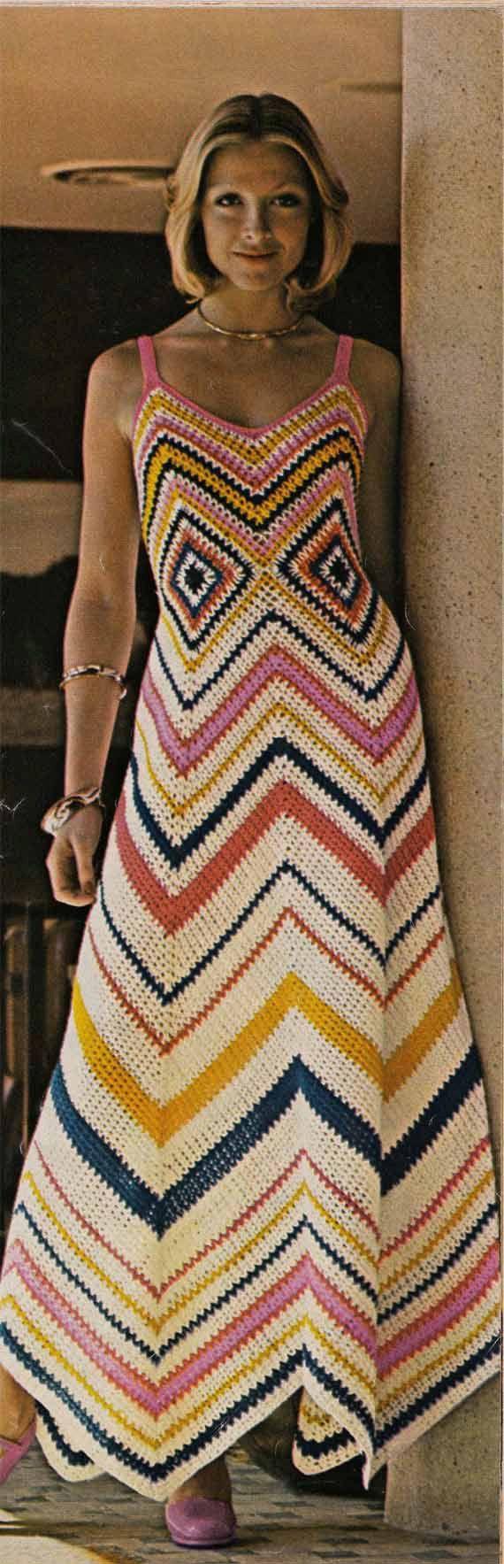 Crochet Dress Pattern Pdf Vintage 1960s Boho GRANNY SQUARE DRESS pattern Treasury Item from GrannyTakesATrip 0143. $3.00, via Etsy.