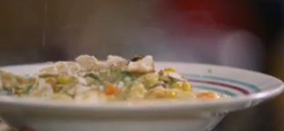 Jamie Oliver Smokin' chicken chowder on Jamie's Money Saving Meals .... OMIT THE BACON
