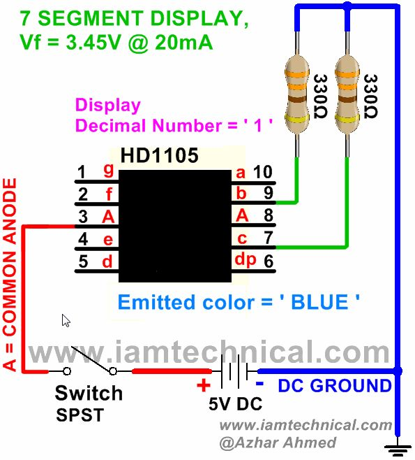 Blue Color 7 Segment HD1105 Displaying Decimal Number ' 1 ' | IamTechnical.com