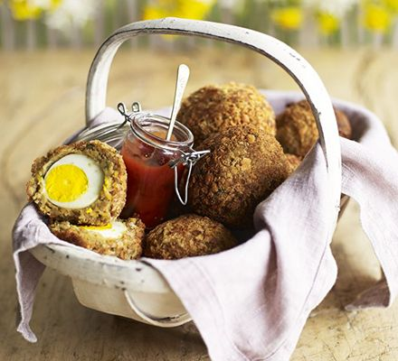 Falafel Scotch eggs. Combine two winning dishes in this picnic-friendly recipe of eggs coated in spiced, herbed chickpeas