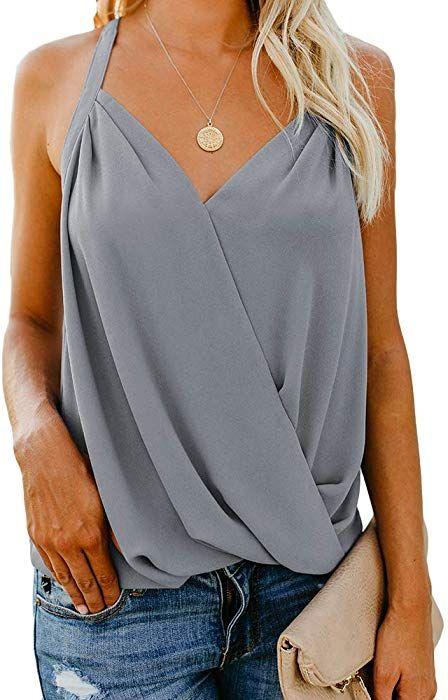 9bce166d9e8394 Women's V Neck Sleeveless Tank Tops Drape Wrap Front Pleated Back Casual  Chiffon Cami Tops Blue
