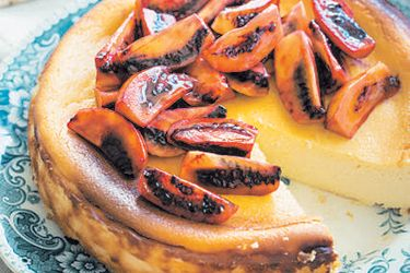 Baked ricotta cheesecake with tamarillos recipe, Bite – Nadia Lim cooks a healthy and delicious dinner party that can be prepared in advance, making your night stress-free This baked cheesecake uses mostly ricotta cheese, which is much lower in fat than other cheeses. The result is a light, moist cheesecake that is a pleasure on the lips but won't go straight to the hips. Serve with any fruit you like, however these sweet and tangy marinated tamarillos go really well. The cheesecake can b…