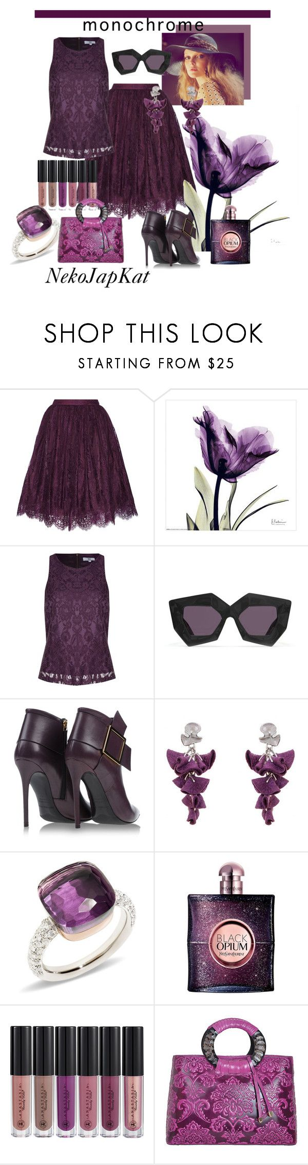 """mono"" by neko-m-tucker-smith ❤ liked on Polyvore featuring Alice + Olivia, True Decadence, House of Holland, Gianmarco Lorenzi, Pomellato, Yves Saint Laurent, Anastasia Beverly Hills and WithChic"