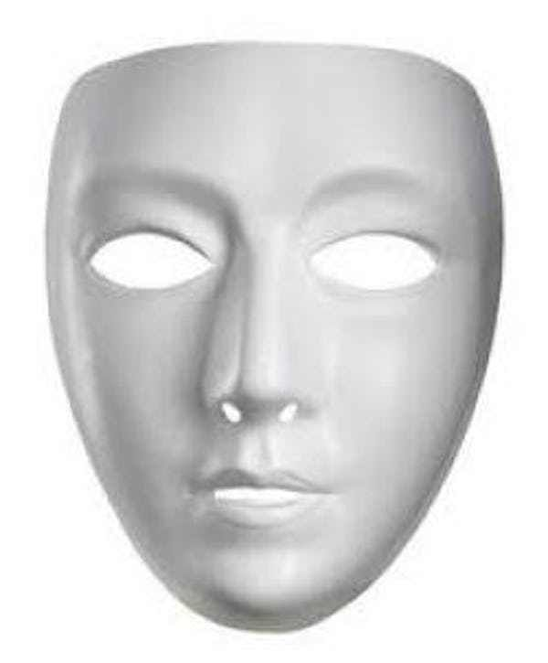 Use It For Dress Up Blank Face White Mask Your Choice! Halloween Cosplay
