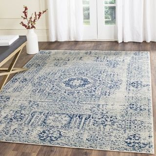 Safavieh Evoke Vintage Ivory / Blue Center Medallion Distressed Rug (8u0027 X  10u0027) By Safavieh