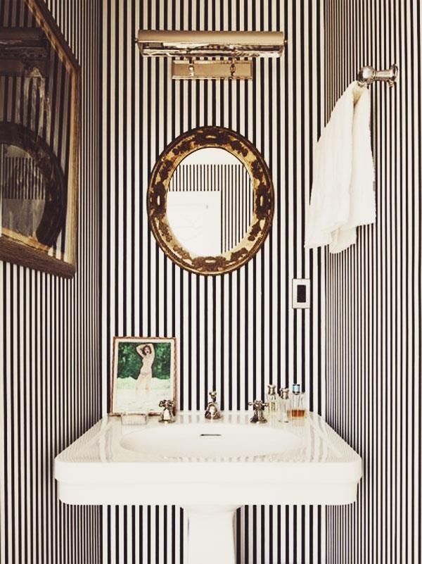 Small Powder Bath with Vertical Striped Wallpaper