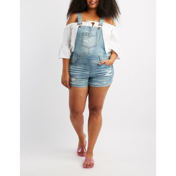 Refuge Destroyed Denim Shortalls ($21) ❤ liked on Polyvore featuring jumpsuits, rompers, indigo, denim rompers, women's plus size denim overalls, denim bib overalls, plus size rompers and distressed overalls