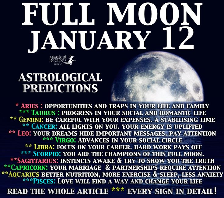 Magical Recipies Online | Complete Astrological Forecast for Every Zodiac Sign. Full Moon in Cancer, Predictions: Full Moon, Thursday January 12th, 2017