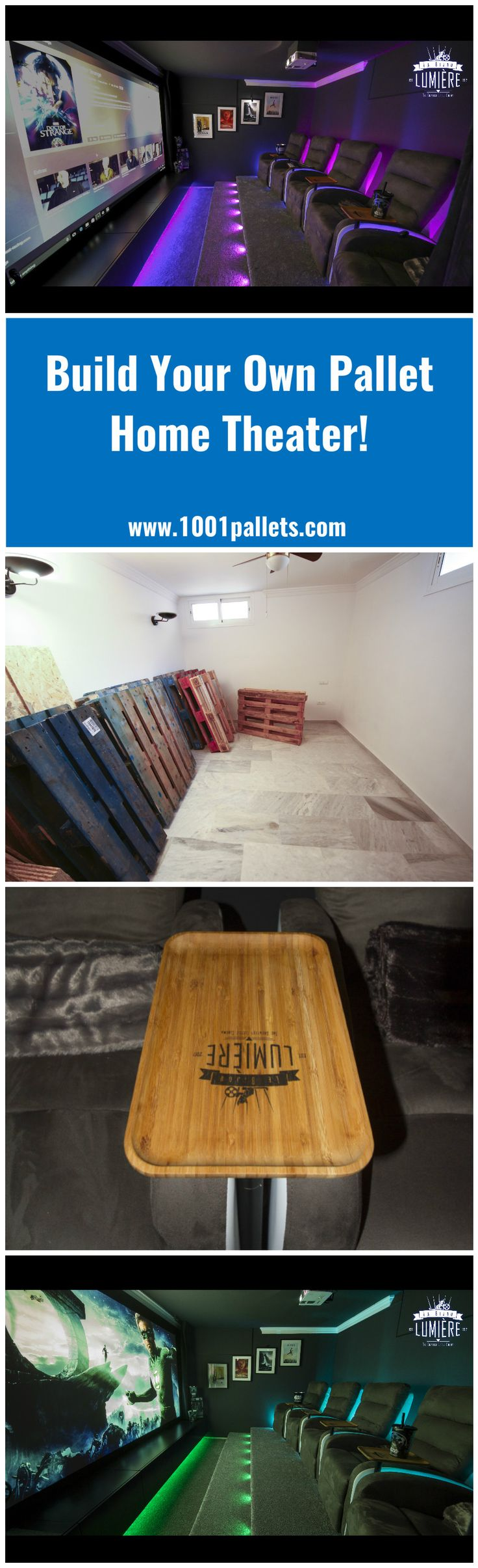 Turn those unused areas of your home into an amazing Pallet Home Theater! We knew we wanted a home cinema room and in the new house there was one handy room