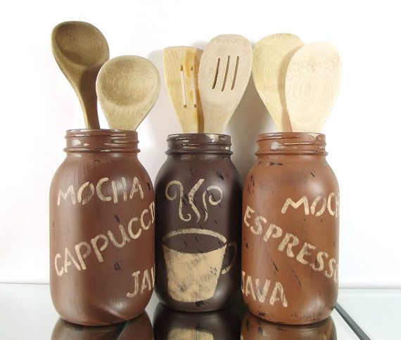 Kitchen Decor Hand Painted Mason Jars Rustic Country Home Decor Coffee Themed Decor Kitchen Utensil Holder Distressed Decor