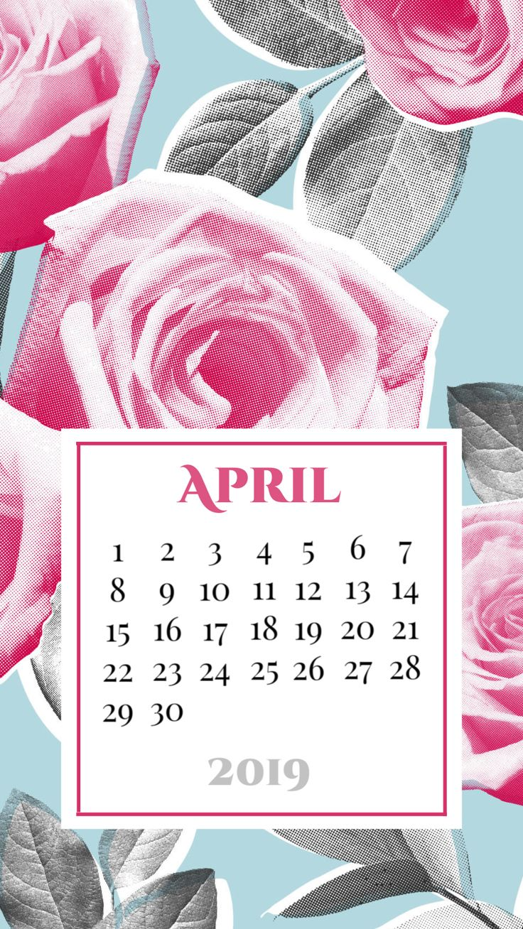 Smartphone wallpaper background April 2019 calendar