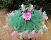 Robe Petti Tutu, Vert, Rose, Ivoire : Mode Bébé par elsa-sieron
