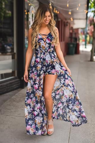Call You Home X Chest Floral Panel Maxi Romper (Navy)