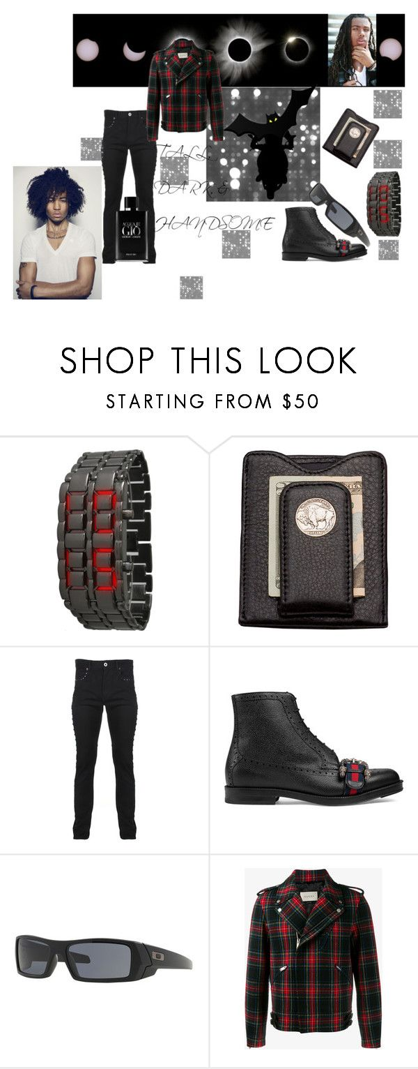 """""""Tall, Dark, & Handsome"""" by mikewatts ❤ liked on Polyvore featuring Olivia Pratt, Frontgate, Versace, Gucci, Issa, Oakley, Giorgio Armani, men's fashion, menswear and nightlife"""