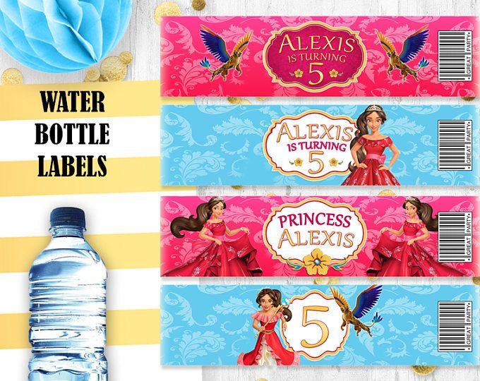 Elena Of Avalor Water Bottle Labels Princess Elena Bottle Labels