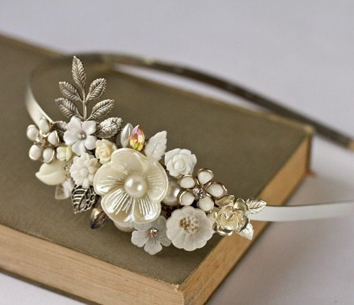 Bridal Headband - Bridal Hair Accessories, Vintage Headband, Shabby Chic Wedding Accessories, Silver Headband, Unique Bride, Pearl Collage