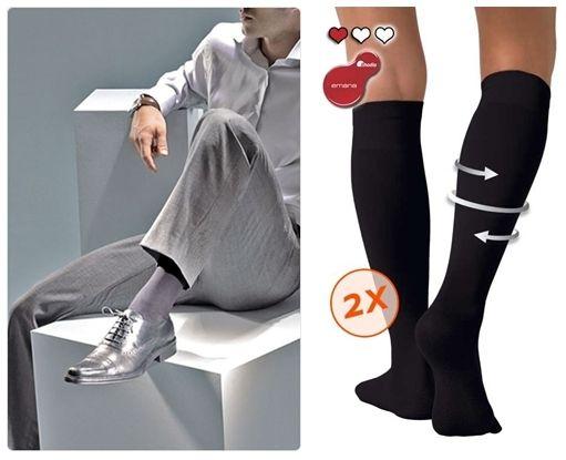 De gauche à droit  : Elégance et confort pour homme en chaussettes de contention Gibaud (Crédit Photo DR) ; Pharmaline. Rhodia Emana. Chaussettes vendues en conditionnement de 2 paires. (Crédit photo DR)