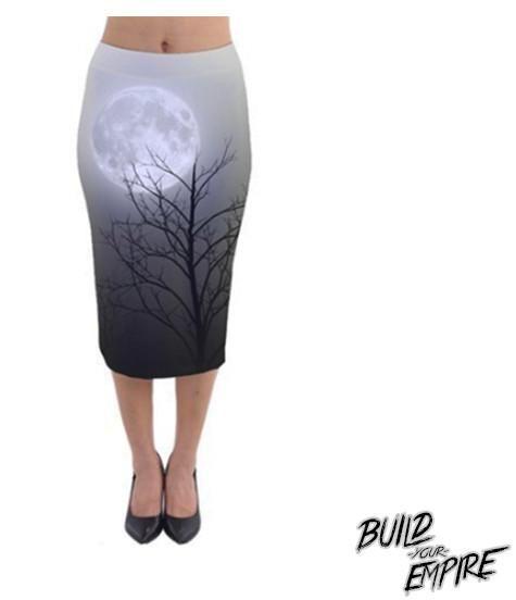 Full Moon Light Pencil Skirt | Skirt | Nu Goth & Alternative Apparel | Build Your Empire Clothing Co.