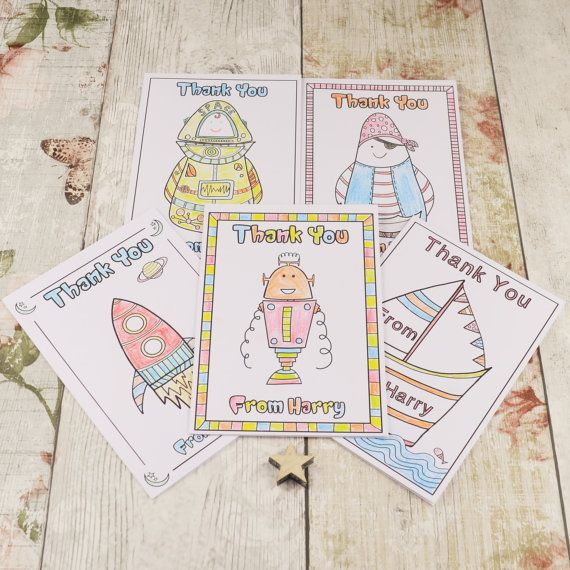 Set of 5 Colouring in Thank You Card Children's by MakeWithMum