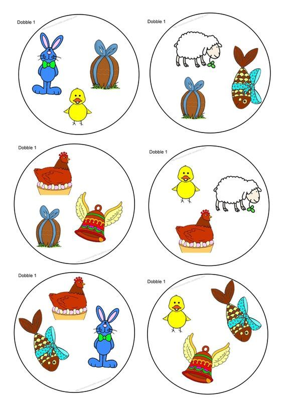 Jeu DoBBle spécial pâques (pour les petits de 3 ans et un peu moins):