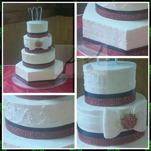 Navy ribbon, red bling wedding cake. Design credit: Graceful Cake Creations