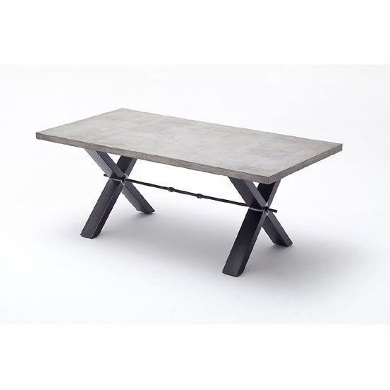 Gavi Benton Optik Stone Large Dining Table With Metal Legs Dining Tables G