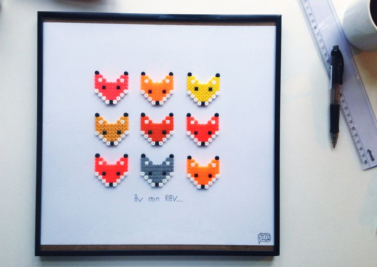 Framed foxes hama bead art by Saraseir