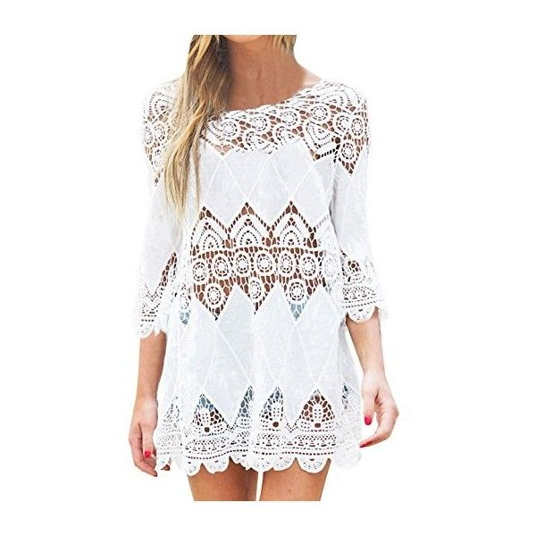 SUNNOW Womens Sexy Beach Cover Up Floral Lace Crochet Hollow Out Tunic... ($17) ❤ liked on Polyvore featuring swimwear, cover-ups, crochet cover ups, white crochet cover up, crochet cover up, white cover up and cover up swimwear