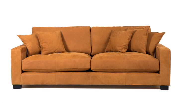 Brun Valen skinnsoffa. Soffa, skinn, låg, djup, dun, vardagsrum, möbler, inredning.