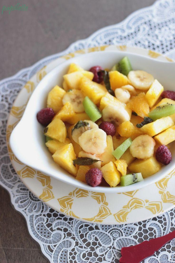 Papillette: Salade de fruits au sirop léger verveine et menthe