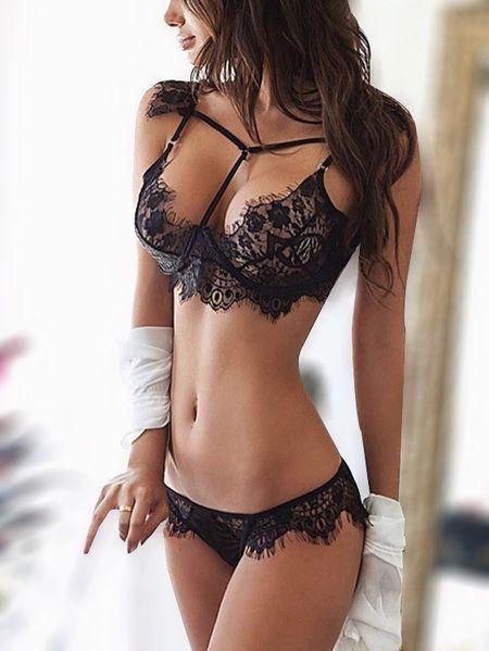 3e0d3f0a4c1e1 Black Lace Strappy Design Lingerie Sets sexy lingeries bra yoins Lace Bra