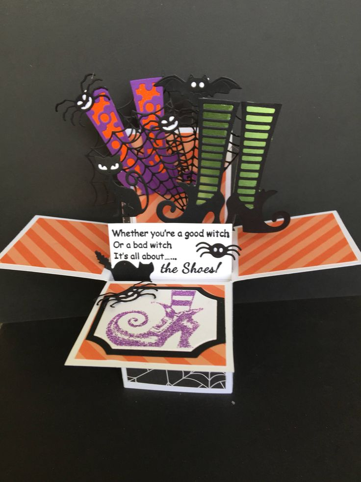 A personal favorite from my Etsy shop https://www.etsy.com/listing/528475172/halloween-pop-up-box-card-witchs-boots