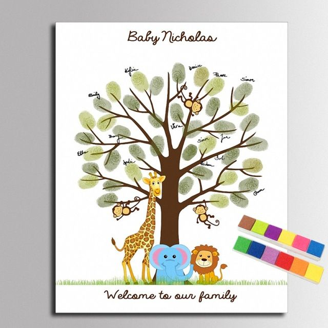 Fingerprint Tree Painting Cartoon Animals Fingerprint Signature Canvas Painting Baby Shower Guest Book (Include 12Ink Colors)