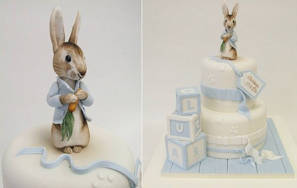 Peter Rabbit cake topper and cake by Emma Jayne Cake Design, inspired by Debbie Brown