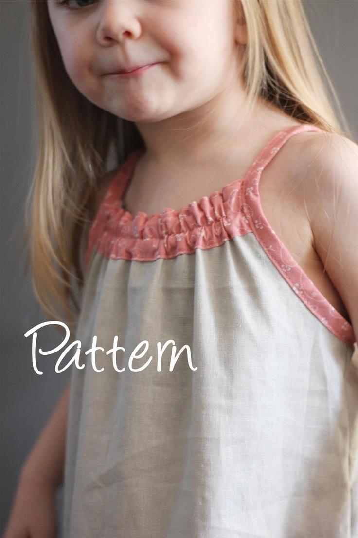 Smock Top Dress pattern and tutorial PDF 12m-6t easy sew summer dress tunic. $6,95, via Etsy.