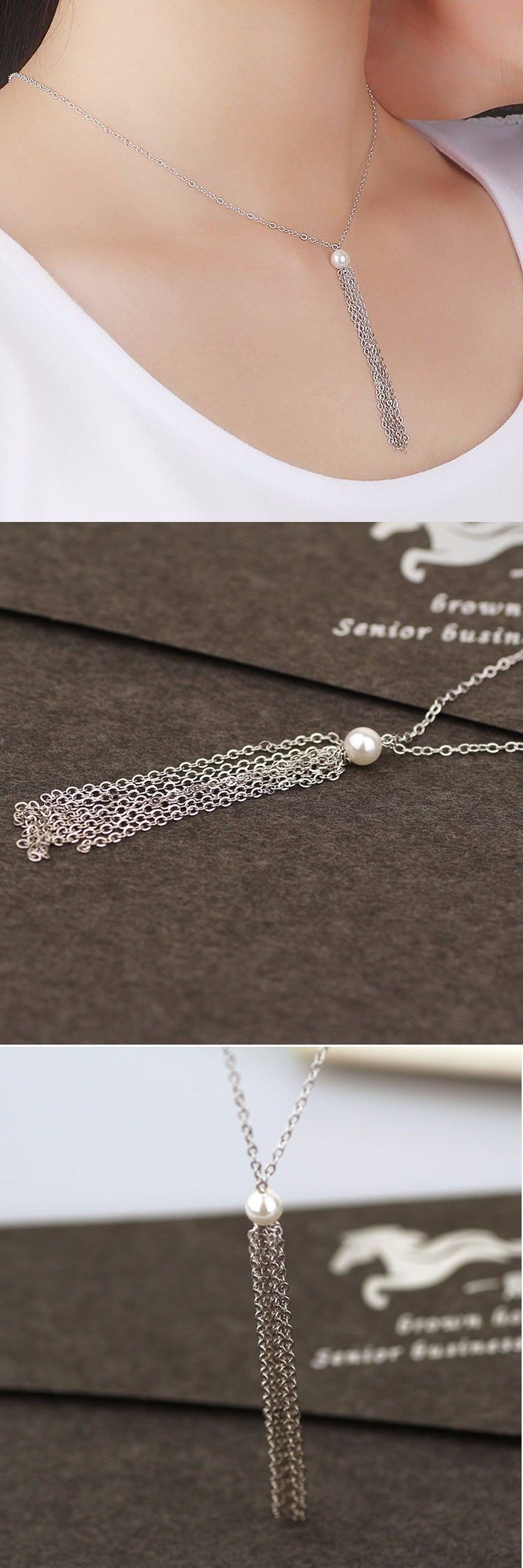 $7.12 Silver Tassel Pearl Clavicle Necklace
