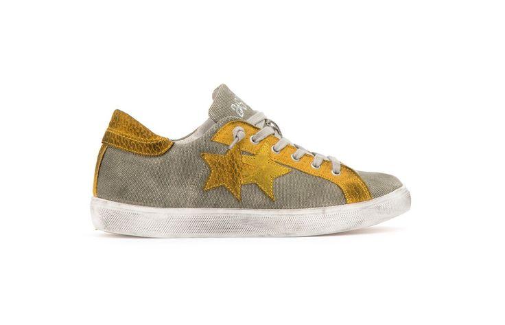 Sneaker 2 Two Star uomo 2su1449 low kaky e giallo spring summer 2017