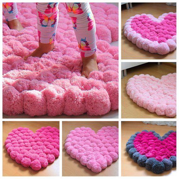 Pom Pom Rug for Girl Room, Soft Rug for Baby Room, Nursery Area Rug, Bedroom Rug, Colorful Heart Rug, Floor Decor, Custom Colors,