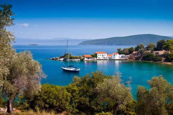 Anchored in an idyllic cove on the Pelion peninsula.