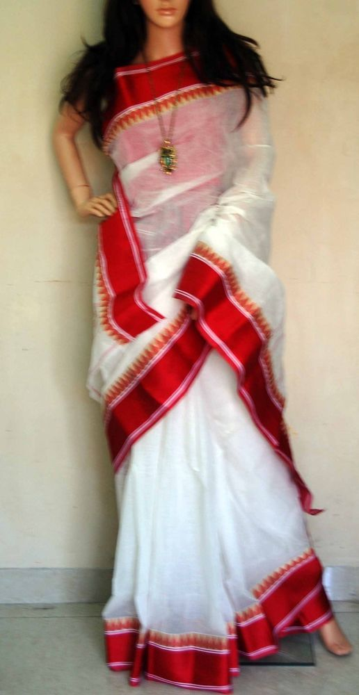 Indian designer Bollywood Christmas Taant saree jamdani fabric Partywear Sari in Sari, Saree | eBay