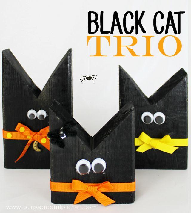 2 x 4 black cat trio halloween craft decor