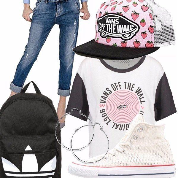 Un look per le ragazze che amano il rap, ma non solo...jeans boy con risvolto, t-shirt corta marca Vans, zainetto Adidas, carinissimo cappellino con fragole marca Vans, converse e per concludere gli immancabili cerchi!