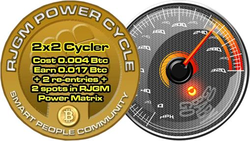 RJGM Power Cycle 2x2 Hybrid is a new way of making money online. It is not a matrix and it is not a cycler but has the capabilities of both. We use this functionality to bring you a way to make money fast not to mention the other benefits such as 2 re-entries when your account cycles and 2 accounts in the RJGM Power Build.