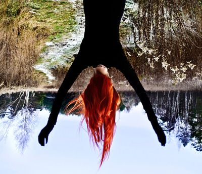Upside down with a great view behind. I would have my face in the ...